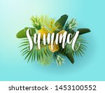green and blue summer tropical... | Shutterstock .eps vector #1453100552