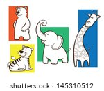 set of animals with brown... | Shutterstock .eps vector #145310512