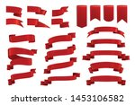 red ribbons realistic set with... | Shutterstock .eps vector #1453106582