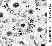 seamless hand drawn floral... | Shutterstock .eps vector #1453141562