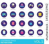 coworking space icons including ...