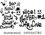 many graffiti tags on a white... | Shutterstock .eps vector #1453161782