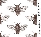 insect beetle seamless pattern  ... | Shutterstock .eps vector #1453181525