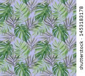 watercolor monstera and palm... | Shutterstock . vector #1453183178