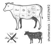 american cuts of beef | Shutterstock . vector #145319692
