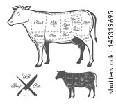 american cuts of beef | Shutterstock .eps vector #145319695