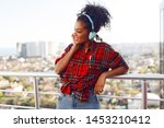 enthusiastic american woman...   Shutterstock . vector #1453210412