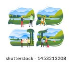 set of hikers in mountains.... | Shutterstock .eps vector #1453213208