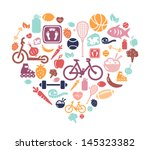 healthy lifestyle background | Shutterstock .eps vector #145323382