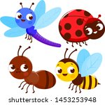 set of cute colorful bugs. a... | Shutterstock .eps vector #1453253948