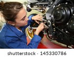 student girl in motorbike... | Shutterstock . vector #145330786