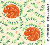 fox and nature seamless pattern.... | Shutterstock .eps vector #1453323395