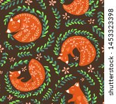fox and nature seamless pattern.... | Shutterstock .eps vector #1453323398