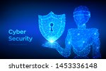 cyber security concept. shield...   Shutterstock .eps vector #1453336148