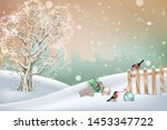 christmas winter scene. vector... | Shutterstock .eps vector #1453347722