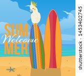parrot paradise beach banner...   Shutterstock .eps vector #1453402745