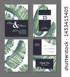 botanical wedding invitation... | Shutterstock .eps vector #1453415405
