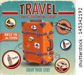 vintage travel luggage poster... | Shutterstock .eps vector #145342192