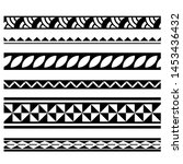polynesian tribal tattoo... | Shutterstock .eps vector #1453436432