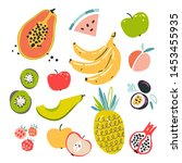 fruit collection in flat hand...   Shutterstock .eps vector #1453455935