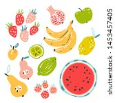 fruit collection in flat hand...   Shutterstock .eps vector #1453457405