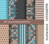 set of trendy seamless floral... | Shutterstock .eps vector #1453468598