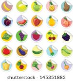 stickers with cartoon fruits... | Shutterstock .eps vector #145351882