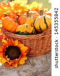 Pumpkins In Basket. Defocused...