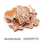 gingerbread cookies on white... | Shutterstock . vector #145359772
