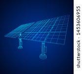 solar energy panel. wireframe...   Shutterstock .eps vector #1453606955