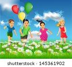 happy children running in the... | Shutterstock .eps vector #145361902