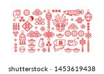 vector set of red icons for... | Shutterstock .eps vector #1453619438