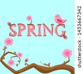 pink bird sitting on the... | Shutterstock . vector #1453667342
