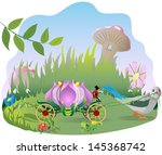 flower  fantasy carriage pulled ... | Shutterstock .eps vector #145368742