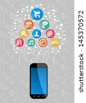 social media network icon set... | Shutterstock .eps vector #145370572