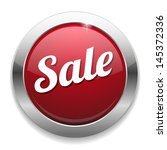 big red metallic sale button | Shutterstock .eps vector #145372336