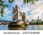 Small photo of View of the famous landmark of London Tower Bridge across the Thames river in England, UK