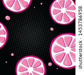 bright pattern with pink lemons ... | Shutterstock .eps vector #1453786958