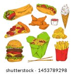 fast food appetizer collection... | Shutterstock . vector #1453789298