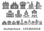 milan icons set. outline set of ...   Shutterstock . vector #1453844018