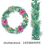 flower wreath with tropical... | Shutterstock .eps vector #1453844495