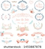 rustic wedding design set.... | Shutterstock .eps vector #1453887878