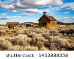a historical school and church and other farm out buildings located at Fort Rock State Park, near Silver Lake, Oregon