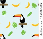 tropical toucan banana pattern. ... | Shutterstock .eps vector #1453888415