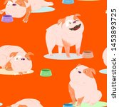 cartoon bulldog with bones and... | Shutterstock . vector #1453893725