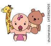 cute little baby girl with bear ... | Shutterstock .eps vector #1453902905