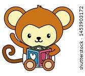 cute little monkey with block... | Shutterstock .eps vector #1453903172