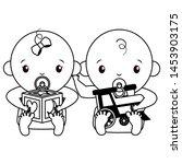 babies boy and girl baby shower ... | Shutterstock .eps vector #1453903175