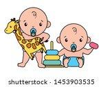 cute little babies boys with... | Shutterstock .eps vector #1453903535
