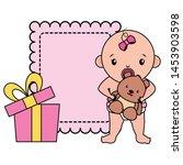 cute little baby girl with bear ... | Shutterstock .eps vector #1453903598